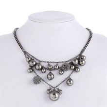 2016 new Hot Sale Fashion brand jewelry Bohemian Black Metal Beads braid Box Chain Necklaces for women Choker Free Shipping