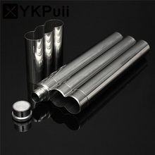 1pc New Arrival Silver High Quality Pure Stainless Steel Liquid Flask 2 Cigar Tubes Travel Carry Case Holder