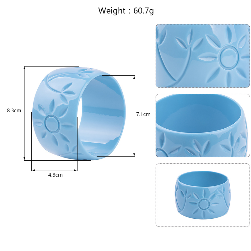 Trendy Resin Cuff Engraved Sun Flowers Fashion Bracelets Bangles Women Acrylic Wide Bracelets Female Simple Charm Party Jewelry (5)