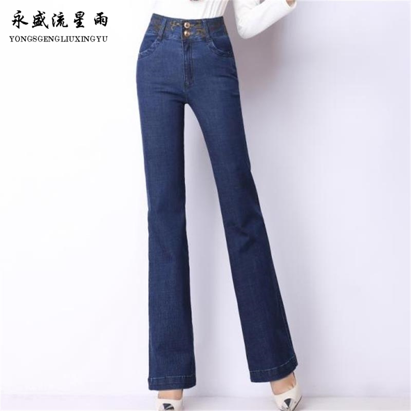 Free Shipping Women Spring Autumn embroidered high waist bell bottom jeans girls elastic boot cut trousers Plus Size Flare pants