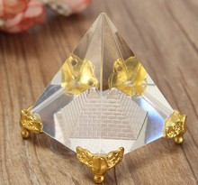 High Quality Egypt Egyptian Crystal Clear Pyramid Ornament Home Decor Living Room artificial craft 50*50*60mm
