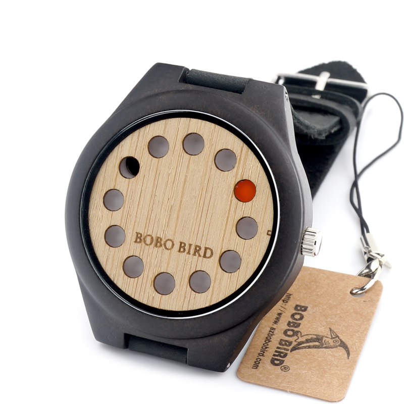 BOBO BIRD F06 12 Holes Design Wooden Watch Mens Leather Quartz Watch with Brown Leather Band in Gift Box <br><br>Aliexpress