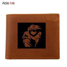 Real Leather men purses Laser Engraved custom name l death note pullover short Wallet with coin pocket carteras hombre(China)