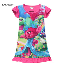 LAKAKSTY 4-9T Children Girls Summer Dress Cartoon Trolls Straight Dresses Kids Night Gown Infantil Bath Robe Baby Girl Nightwear
