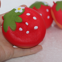 1 x Simulation Strawberry Mobile Phone Straps Release Stress 7CM Flat Soft Vividly Slow Rising Foam Gift Fun Squishy Strap P30(China)