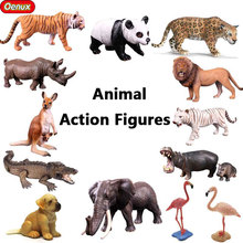 Oenux African Wild Animal Paradise White Tiger Lion Leopard Panda Model High Quality Kangaroo Dog Action Figure Toy For Kid Gift