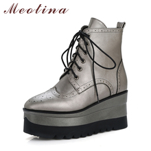 Meotina Women Ankle Boots Punk Platform Wedge Heels Short Boots Winter Boots Zip High Heels Women Autumn Shoes White Size 34-39