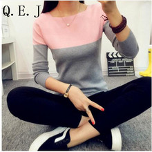 Q.E.J High Elastic Knitted Sweater Women2016 Spring Autumn Split Ladies Sweaters And  Female Rose Jumper Knitting Sweater Woman