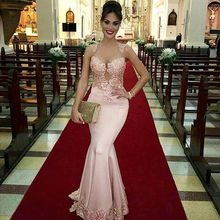 Arabic Pink Evening Dresses Chic Lace Beads Mermaid Sheer Jewel Neckline Floor Length Formal Gowns Custom Made Cheap Online Shop