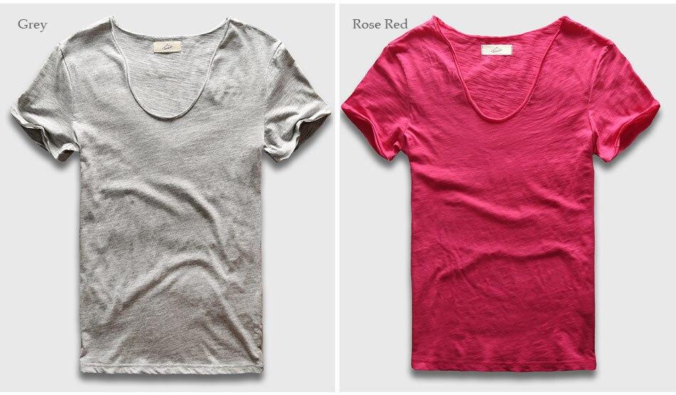 HTB1SF6URFXXXXbQXVXXq6xXFXXX4 - Men Basic T-Shirt Solid Cotton V Neck Slim Fit Male Fashion T Shirts Short Sleeve Top Tees 2017 Brand