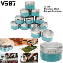 12Pcs/Set Blue Magnetic Spice Tin Jar Stainless Steel Spice Sauce Storage Container Jars Clear Lid Home Kitchen Condiment Holder