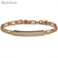 MxGxFam Gold Color Bright Gems Watch Bracelet Women for Factory Price Lead and Nickel Free(China)