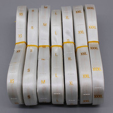 1000pcs High Quality White Satin Embroidered Gold Size Labels Clothing/Wedding Dress Care Size Labels Tags Gold Size XS-XXXL