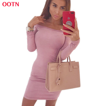 OOTN Sheath Off Shoulder Dress Women Suede Vintage Pink Grey Blue Autumn Solid Long Sleeve Dresses Female Winter Spring(China)