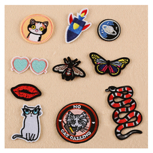 2017 New Cat Butterfly Bee Snake Sunglass Patches Iron On Or Sew Fabric Sticker For Clothes Badge Embroidered Appliques DIY(China)