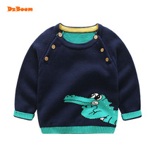 DzBoom 2017 Autumn Winter Baby Boy Long Sleeve Tops New Cute Cartoon Casual Child Kid Boys Knitted Pullover Sweater 100% Cotton(China)