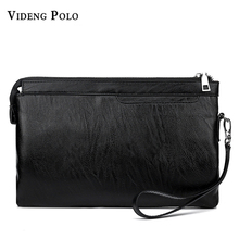 VIDENG POLO 2017 New Brand Men Clutch Bag High Quality Leather Long Wallet Man Purse Big Capacity Brown Black Clutch Handy Bag(China)