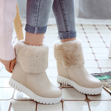Female autumn and winter new 2017 flanging thick bottom plus cashmere snow boots low tube two wear student boots(China)