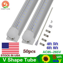 SUNWAY led tube lamp v-shaped integrated 4ft 5ft 6ft 8ft LED tube light t8 28w 36w 42w 65w AC85-265V led tubes t8 light 50pcs(China)