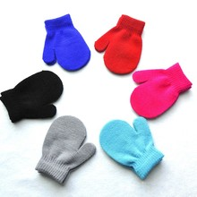 Warm Unisex Kids Knitting Warm Soft Gloves Kids Boys Girls Candy Colors Mittens