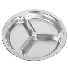1pcs 3 Sections Stainless Steel Students Grid Dinner Plate Lunch Box Babecue Snack Tray(China)