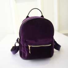 New Fashion Women Velvet Backpacks Pleuche Casual Style Girls Mochila Zipper Bags BS88(China)