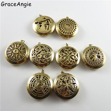 GraceAngie Female Jewelry Pendant Bronze 8style 32mm Round Hollow Pattern Perfume Essential Oil Aromatherapy Diffuser Locket Box