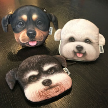 Chihuahua dachshunds 3D Dogs Coin BAG Key chain Plush Coin Purse Wallet Pouch Pocket Coin Cash Holder woman BAG Handbag key ring(China)