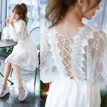 2017 Women's New Casual Summer Beach Party Style Lady White Lace Dresses Floral Empire  O-Neck Women Dres Wholesale