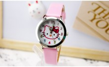 New Fashion Brand Hello kitty watch Women Dress kids hellokitty Watches Cartoon Leather Quartz wristwatch montre enfant