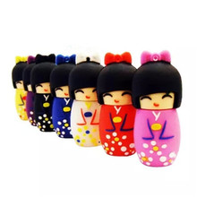 Genuine 2G/4G/8G/16G/32G usb flash drive Memory diskstickpendrive japanese kokeshi dolly plastic,   creative Pendrive  S351 AA