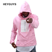 2017 hot mens hip hop pink hoodies sweatshirts tracksuit men with the hole hoodies men fashion set winter male street wear