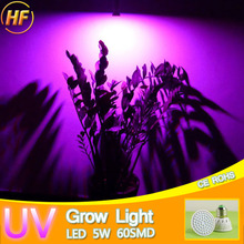Full Spectrum 220V 5W E27 UV LED Grow Light AC 185V~240V LED Grow Bulb Lamp for Flower Plant Hydroponics IR Red Blue Purple