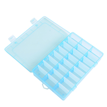 Adjustable 24 Compartment Transparent Plastic Storage Box Jewelry Earring Case small objects Caja de almacenaje(China)