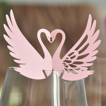 120pcs DIY Place Card Pink Laser Cut Swan Wedding Invitation Wine Glass Cup Paper Cards Name Card Wedding Party Decorations