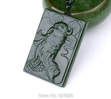 100% Natural Grade A Real Hetian Jade Hand Carved GuanGong Lucky Amulet Green Jade Pendant  + free Necklace Fine Jade Jewelry