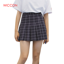 Buy WICCON Women Skirts 2018 Spring Summer Women Plaid Pleated Skirt Women High Waist Preppy Style Skirts Sweet Casual Mini Skirts for $13.63 in AliExpress store