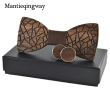 Mantieqingway Trendy Wooden Bowties For Mens Suit Wedding Party Handmade Wooden Bow Tie Business Neck Ties Wood Cravat(China)