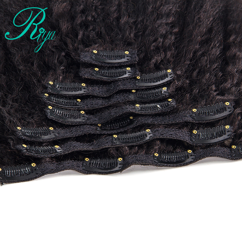 kinky straight clip in human hair extension (4)