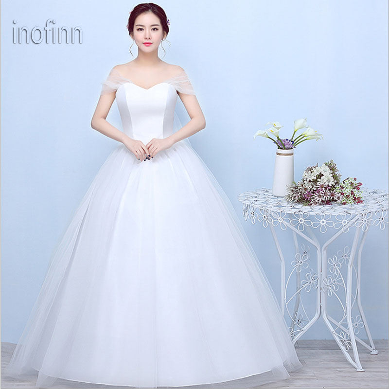 Inofinn in049 Hot Sale Lace Dress Wedding Long 2019 Lace Off-Shoulder Sweetheart Sleeveless Lace Up Cheap Wedding Dress