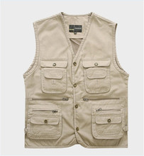 Hot!  Men's Vest Men's Professional Cotton Photography Director Cameraman Reporter Vest Men Vest