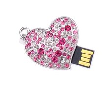 Crystal love heart usb flash drives thumb pendrive u disk usb creativo memory stick 64GB 32GB 16GB 8GB 4GB S48(China)