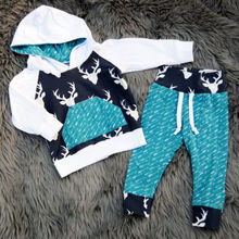 Hot Xmas Toddler Kids Baby Boy Girl Deer hoodies children's sweatshirt Hooded Tops + Pants Outfits Set Clothes dropship