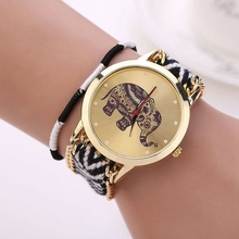 Handmade Weaved Wrist Watches Women Girl Fashion & Causal Elephant Cartoon Bracelet Quartz Clock Hours Women's Watch
