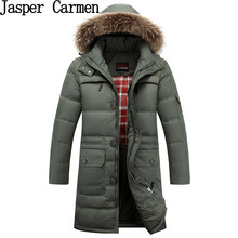 Men's Long Down Jacket Men's Thickened Hooded Down Jacket Fur Collar Fashion Slim Winter Thick Coat WN 245