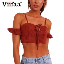 Viifaa Faux Suede Summer Padded Crop Top Orange Red Lace Up Short Sleeve Ruffle Bustier Women Strappy Tank Top