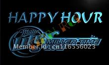 LA606- Miller Lite Guitar Happy Hour Bar Beer  LED Neon Light Sign