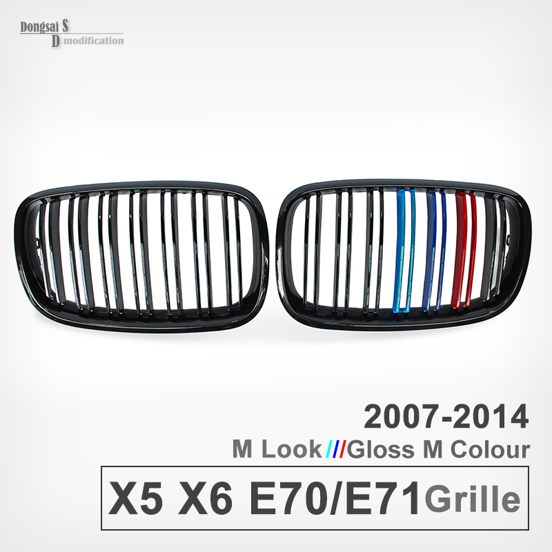 Original M Color Dual Slats Front Bumper Grille Kidney Grill Mesh For BMW X5 E70 2007 - 2013 X6 E71 2008 - 2014 ABS 28i 35i<br><br>Aliexpress
