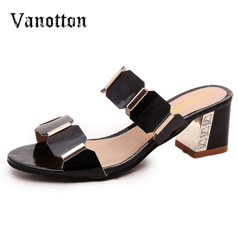 Summer Peep-toe Women Slides Sequined Square High Heel Shoes Woman Fashion Sandals<br><br>Aliexpress