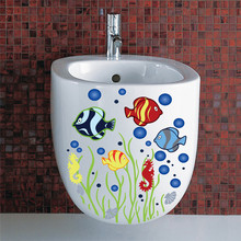 ^ Underwater fish Bubble toilet bathroom wall sticker waterproof Home Decoration refrigerator swimming pool Decals Wall Decals